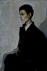 "Romaine Brooks, ""Peter, a Young English Girl,"" 1923-24. Oil on canvas, 36 1/8"" x 24 1/2""."