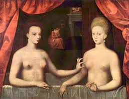 """Unknown artist, """"Gabrielle d'Etrées et une de ses soeurs,"""" c. 1594. Musée du Louvre, Paris, France."""