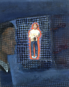 "Christina Schlesinger, ""Blue Little Girl,"" 1994. Oil and fabric on canvas."