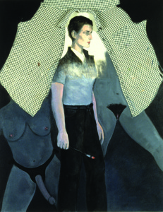 "Christina Schlesinger, ""Self Portrait as Romaine Brooks,"" 1994. Oil and fabric on canvas, 52"" x 40""."